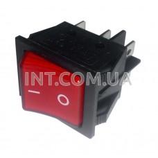 Переключатель клавишный / 250V / 16A / 6 конт. / KCD4 / с фикс. / с подсв. / красный, 2 полож. / IP5