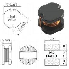 Дроссель / 3.3mkH / I=2.8A / PCD0705MT3R3 / SMD / Viking / +-20%, D=7.8mm/h=5mm