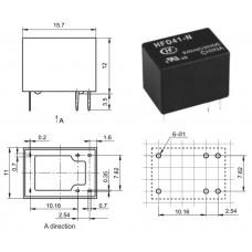 Реле HFD41/024-HS / I=1A / U=125VAC/30VDC / Ucoil=24VDC / NO/NC / 15x11x11mm / HONGFA / 6 ножек