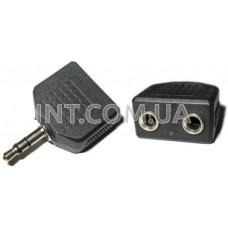 Переходник аудио / штекер 3,5 mm стерео - 2 гнезда 3,5 mm стерео / пластик