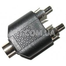 Переходник аудио / гнездо 3,5 mm стерео - 2 штекера RCA / пластик