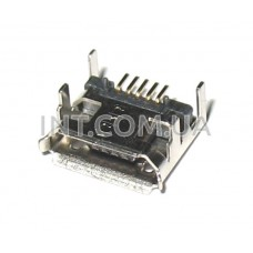Гнездо USB micro / на плату,  4 ножки крепления / 5 выводов / SMD
