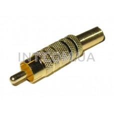 Штекер RCA / на кабель / металл, позолоченный, чёрная линия / 2 полосы