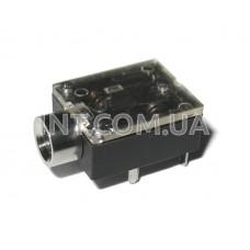 Гнездо аудио / 3,5 mm / стерео / монтажное / 5 выводов / пластик / прозр. крышка