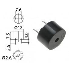 Пьезозуммер / EMB-R1212B / 3.1kHz / 85dB / 12V / 30mA / D=12mm, h=7.5mm / Sanco